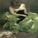 John White Alexander (1856-1915)  The Green Dress  Oil on canvas, c.1890-1899  39 x 21 inches (99.06 x 53.34 cm)  Public collection